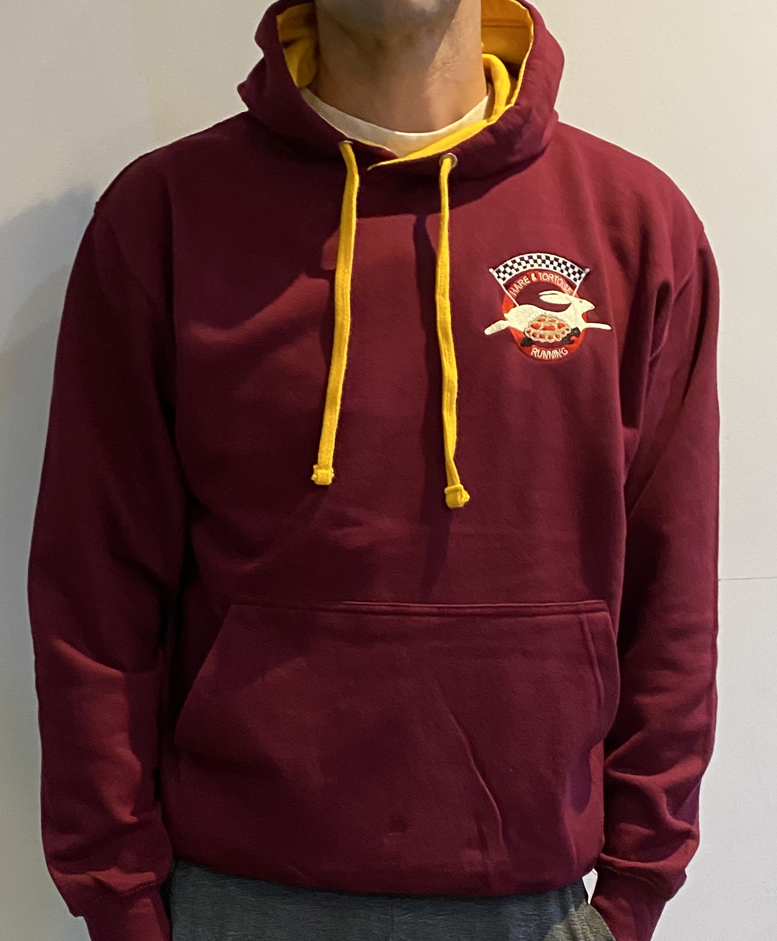 Hare & Tortoise Running Embroidered Hoodie - Burgundy & Gold