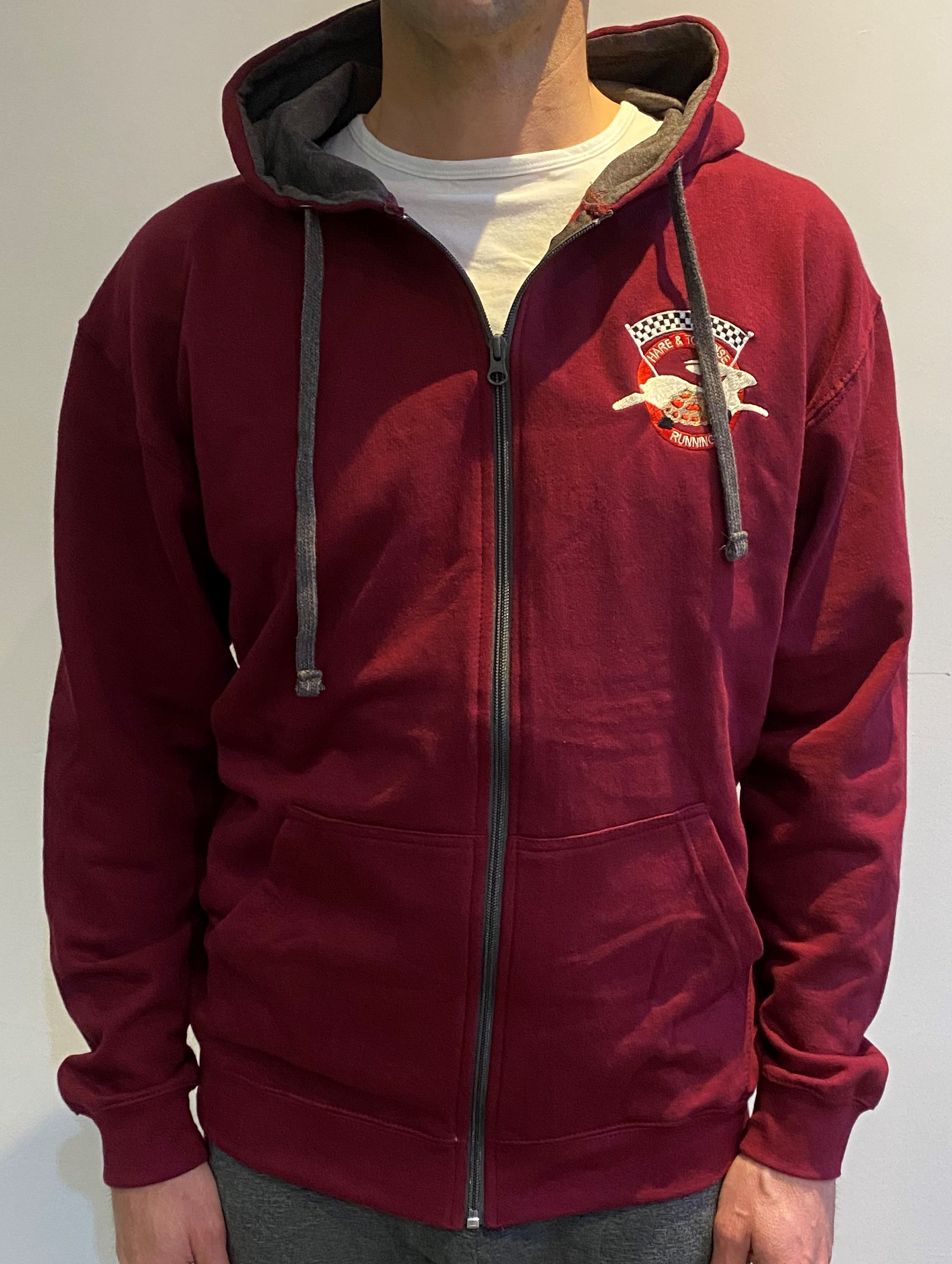 Hare & Tortoise Running Embroidered Zoodie - Burgundy & Grey